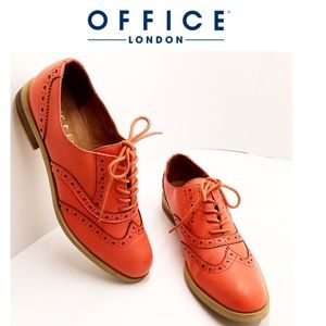 {Office London} Salmon Leather Wing Tip Oxfords
